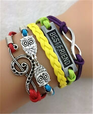 NEW Infinity Owl BestFriend Friendship Leather Charm Bracelet Plated Silver