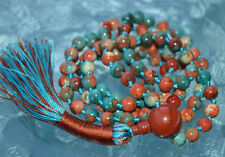 Multicolored Fall Mala beads, Rare 6 mm Fossil beads & Red Jasper Mantra Beads f