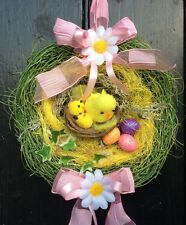 "MINI ""EASTER NEST"" WELCOME DOOR WREATH. TABLE DECORATION. TREES.  EGGS & CHICKS"