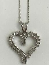 Heart Diamond Pendant 10K White Gold Round Cut Charm with Necklace