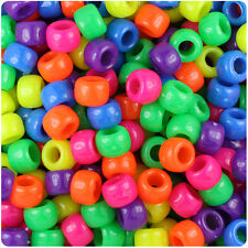 500 Mixed Neon Bright 9x6mm Barrel Pony Beads Made in the USA