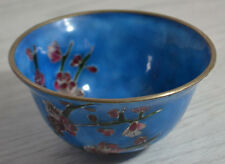 VINATGE ORIENTAL / CHINESE BOWL BLUE ENAMEL WITH CHERRY BLOSSOMS / CLOISONNE