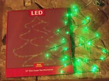 CHRISTMAS OUTDOOR BATTERY LIGHTED LED WIRE PINE TREE YARD PORCH WINDOW DECOR 19""