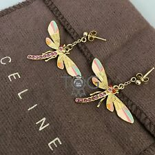 Auth Celine Gold Tone Multicolour Pink Sapphire DRAGONFLY Charm Costume Earrings