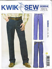 Mens Jeans Pants Straight Leg Boot Cut Sewing Pattern Sz S M L XL XXL 28-46