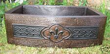 Copper Sink w/Fleur de Lis and SSS Design 33x22x10 16 Gauge