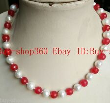 New 8mm Faceted Ruby + 8mm Faceted Shell Pearl  Necklace 18'' AAA