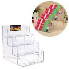 4 Pocket Business ID Card Holder Acrylic Desk Stand Display Desktop Office Shelf