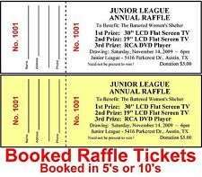 400 RAFFLE TICKETS~DRAWING-Custom Printed Staple-BOOKED Fundraiser Make Money