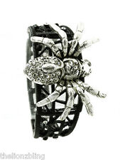Gothic Punk Crystal Bling Tarantula Spider Pendant Black Stretch Bracelet