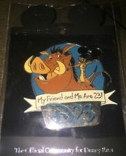 Disney Pin D23 expo Lion King Timon Pumbaa Refer A Friend 2010 Gift On Card
