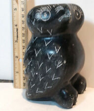 Vintage Inuit Eskimo sculpture soapstone carving - Large Black Owl -SIGNED