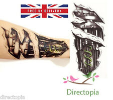 Large 3D Waterproof Bio-mechanical Robot Exposed Temporary Tattoo Steampunk