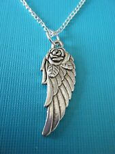 "FREE GIFT ** ANTIQUED SILVER PENDANT WITH 18"" CHAIN NECKLACE Rose Angel Wing"