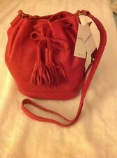 Lucky Brand Harper Bucket Bag Red Leather Shoulder cross body Handbag New! NWT