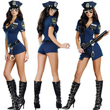 Sexy Police Cop Officer Uniform Costume Women Halloween Cosplay Fancy Dress 1Pc
