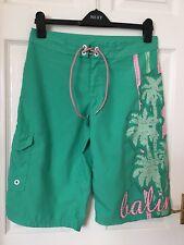 Las señoras cortos tamaño 8 Surf, bañadores Verde/Rosa Balin natación, surf