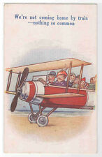 We Are Coming Home By Bi Plane Not By Train Holiday 1910s postcard