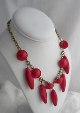 Vintage Czech Brass Chain&Red Elongated Glass Faceted Beads Beaded Necklace