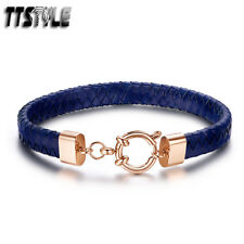 Cool TTstyle Blue Leather Rose Gold S.Steel Clasp Bracelet Wristband NEW