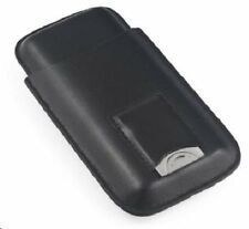 3 Cigar Case ~ Black Leather 3 Cigar Case with Build-In Pouch with Cutter