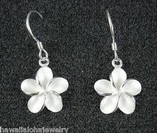 12mm Sterling Silver Hawaiian Frosted Plumeria Flower Dangling Hook Earrings