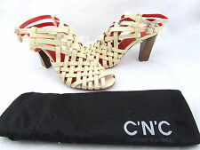 $795 COSTUME NATIONAL Beige Leather Caged Strappy Woven Sandals Shoes 10 40 New
