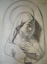 DESSIN ORIGINAL RELIGIEUSE- VIERGE  64*50 cm