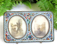 BEAUTIFUL ANTIQUE ITALIAN MICRO MOSAIC DOUBLE PICTURE FRAME