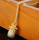 Fashion Jewelry Fruit Gold Sparkling Pineapple Long Charm Pendant Necklace Charm