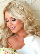 LONDON GOLD BRIDAL HEADBAND Wedding Tiara Hairband Pearl Rhinestone Hairpiece