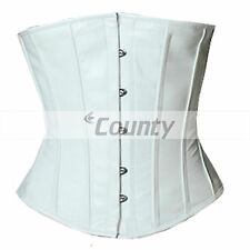 Underbust Corset White Real Leather Full Steel Boned Spiral Basque Lacing Shaper