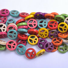 FREE SHIP 20Pcs Mixed Color White Turquoise Charms Peace Symbol Beads 15MM