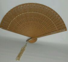 Fine Antique hand fan made in hong Kong very nice well cared for
