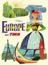 "TWA Airlines ( EUROPE ) 11"" x 17"" Collector's Travel Poster Print - B2G1F"