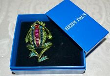 "New $170 HEIDI DAUS ""Leaping Luxury"" Frog Swarovski Crystal Brooch Pin Critter"