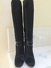 Yves Saint Laurent size 9 black pony hair high heels boots