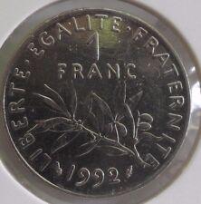 1 franc semeuse 1992 : SUP : pièce de monnaie française