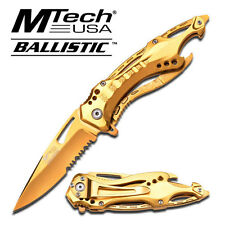 MTech USA All Gold Spring Assisted Pocket Knife Hunting Tactical Outdoor NEW