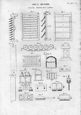 Stampa antica ESSICATOI e Attrezzature per la LAVORAZIONE LAMIERA 1848 Old print
