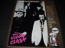 The CLASH You've Been Warned... 1986 PROMO POSTER AD for VIDEO CLASH mint cond