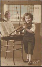 CARTE POSTALE FANTAISIE ENFANT AVEC VIOLON 1913