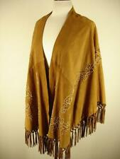 womens PLUS O/S Adrienne Landau Brown Leather Cape Wrap Embroidered Fringe Open