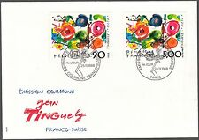 BUSTA ENVELOPPE  CONGIUNTA FRANCO SUISSE 1988 JEAN TINGUELY FDC FIRST DAY COVER