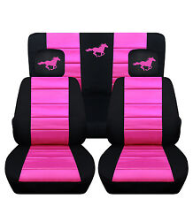 2008-2012 Ford Mustang Coupe Front & Rear Black and Hot Pink Horse Seat Covers
