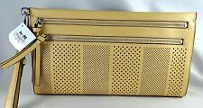 COACH BLEECKER STRIPE PERFORATED LARGE TAN LEATHER CLUTCH 51079