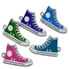 5 x Shoes Zinc Alloy Enamel Charm Pendants - Mixed - A0821