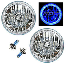 "76-15 Jeep Wrangler 7"" SMD Blue LED Halo 55/60 Halogen Light Bulb Headlight Pair"