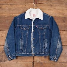 "Mens Vintage 1980s Levis Red Tab Fur Lined Denim Sherpa Jacket Blue M 42"" R4527"