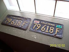 Vintage California Black With Yellow Lettering License Plate Match Hot Rod Cali